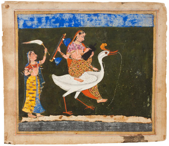 An illustration to a Gita Govind series: Saraswati on hamsa Opaque watercolor and gold on paper, Mewar style in the Deccan, circa 1650