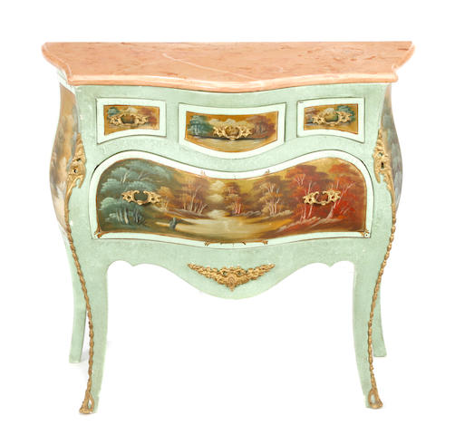 A Venetian Rococo style paint decorated gilt bronze mounted commode