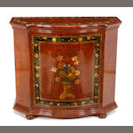 A Continental stained and paint decorated cabinet