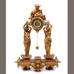 A Continental gilt metal figural mantel clock