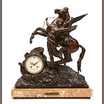 A Continental patinated metal figural mantel clock