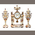 A Continental gilt metal mounted and porcelain clock garniture