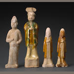 A group of four pottery tomb figures Tang dynasty