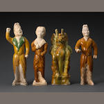 A group of four glazed pottery tomb figures Tang dynasty