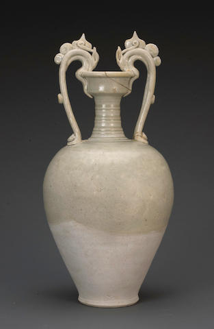 A straw glazed pottery amphora Tang dynasty (restored mouth)