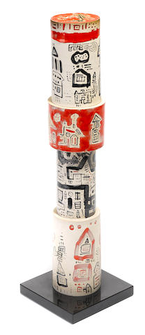 Ynez Johnston, Untitled column, painted ceramic, height 25 1/2in