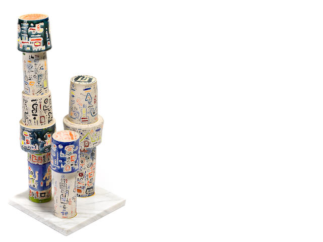 Ynez Johnston, Three columns, painted ceramic on marble base, 22 1/2 x 9 x 8in