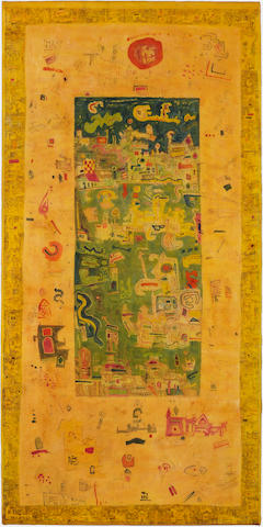 Ynez Johnston (born 1920) Untitled (yellow with green) 67 x 33in