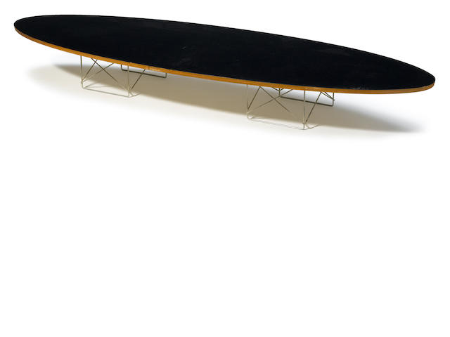 A Charles and Ray Eames laminate wood and metal ETR (Surfboard) low table