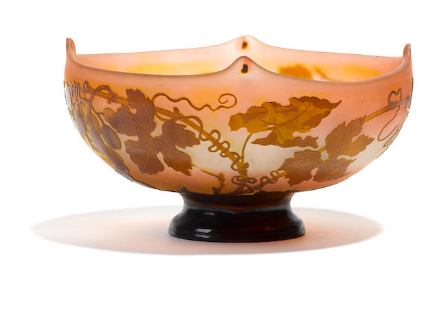 A Galle cameo glass footed bowl