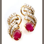 A pair of ruby, diamond and 18k gold earrings