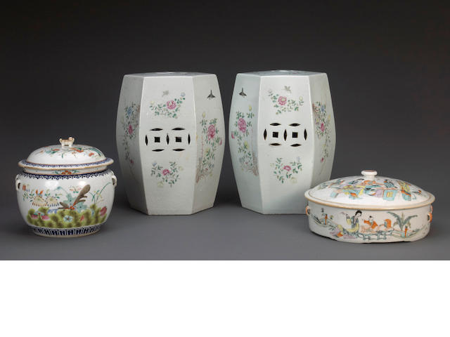 An assembled grouping of famille-rose enameled porcelains Late Qing dynasty