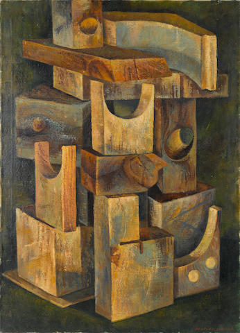 Bentley Schaad (1925-1999) Cubist painting, oil on canvas