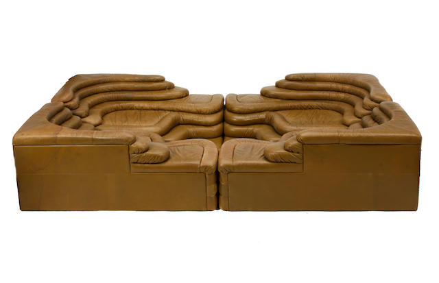 An Ubald Klug for De Sede Terazza modular leather sofa model DS-1025, designed circa 1973, imported by Stendig