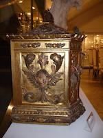 A Spanish or Sicilian Baroque giltwood and polychrome decorated tabernacle<BR />late 17th/early 18th century
