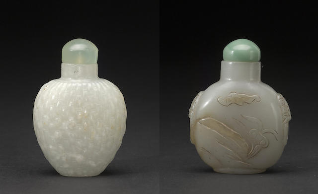 Two jade snuff botlles 19th/20th century