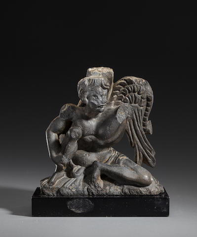 A black stone figure of a winged Atlas Ancient Region of Gandhara, 2nd/3rd century