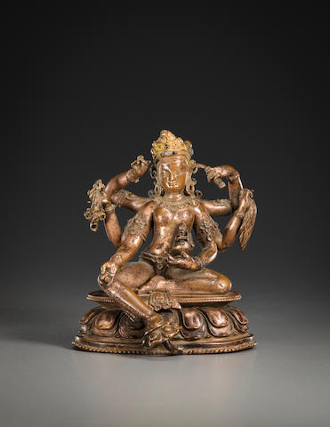 A gilt copper figure of Vasudhara, Nepal, circa 13th century