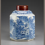A blue and white porcelain cannister, Xuande mark