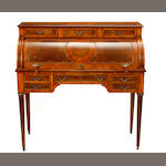 A Louis XVI style inlaid cylinder writing desk