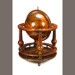 A globe form bar on mahogany stand