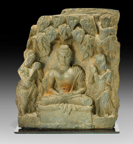 A green schist relief panel of the Entreaty to Preach Swat Region, late 1st/early 2nd century C.E.