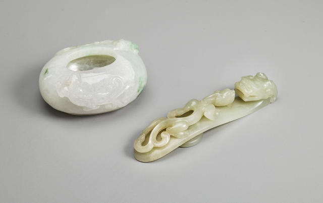 A celadon jade belthook and a jadeite coupe