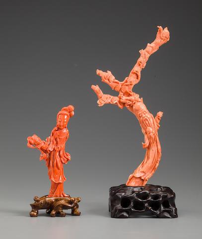 Two carved coral branch figures