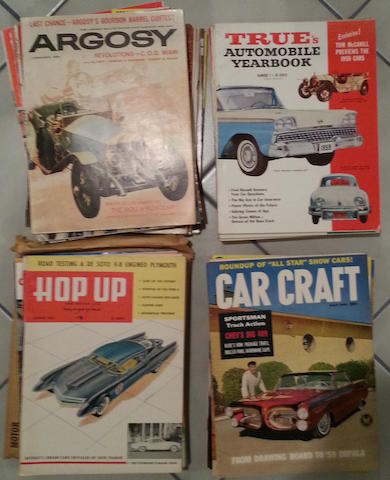 A collection of 1950s-60s car magazines,