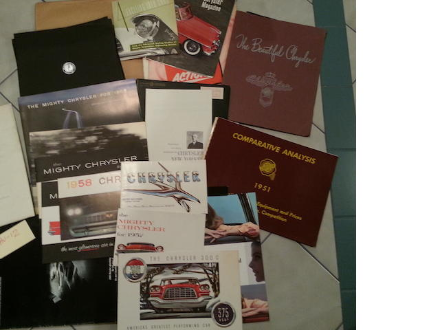 A lot of 1950s-1960s Chrysler and Imperial sales literature,