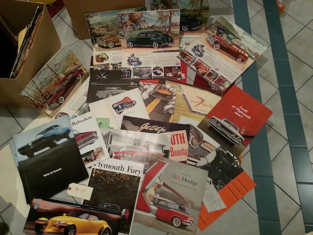 An ensamble of 1950s-1960s DeSoto, Dodge and Plymouth sales literature,