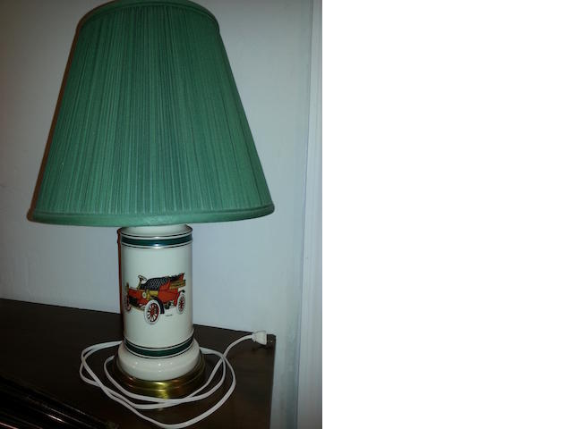Porcelain table lamp with '1903 Ford', green shade,