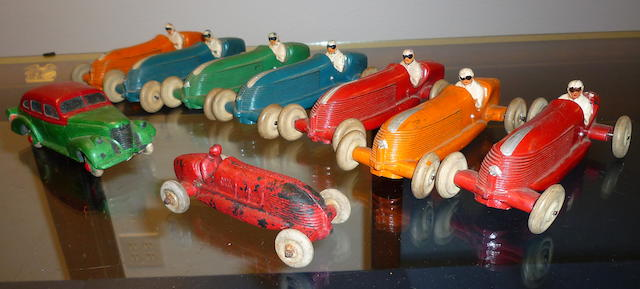9 Rubber Toy Cars, 'AUB-RUBR', Auburn Industries of Auburn, IN, 1920s-30s,