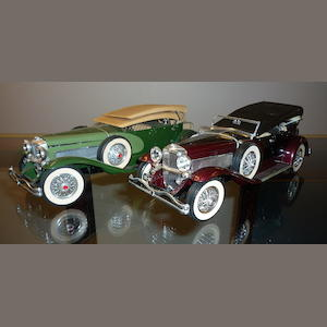 2 Hubley Duesenberg J Dual Cowl Phaeton Models, some wear and breakage evident,