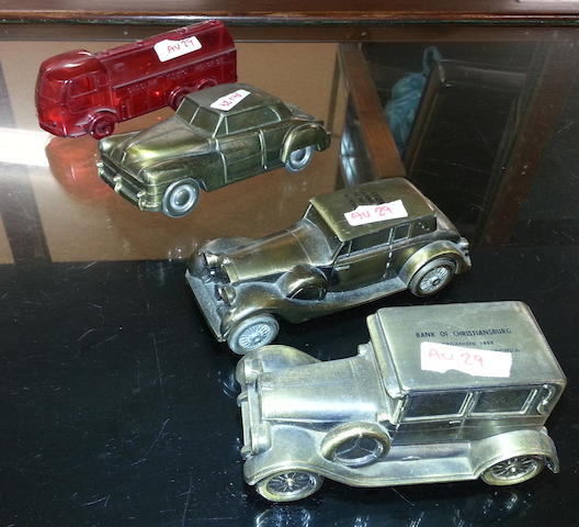4 Brass and Plastic Car Coin Banks,