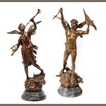 Two patinated bronze figures