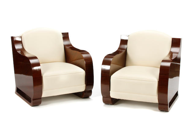 A pair of Art Deco mahogany and leather club chairs circa 1925