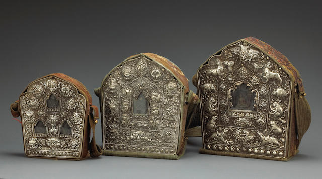 A group of three Tibetan metal repousse gau