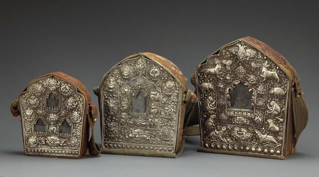 A group of three Tibetan metal repousse gau
