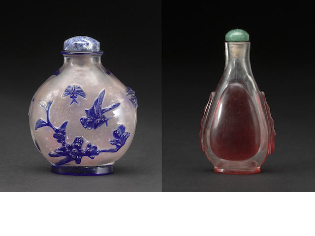 Two glass snuff bottles 1750-1880