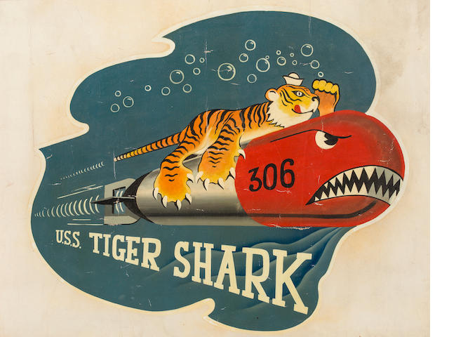 Anonymous U.S.S. Tiger Shark<BR /> 24 x 37-1/2 in. (60.9 x 95.2 cm.), the poster; 30 x 36 in. (76.2 x 91.4 cm.), the original art. (2)