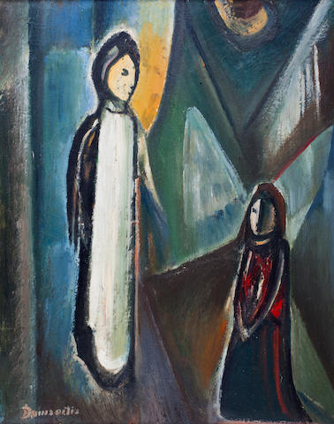 Pranas Domsaitis (South African, 1880-1965) The Life of Christ, triptych one 92.5 x 71cm (36 7/16 x 27 15/16in).; the others 80 x 63cm (31 1/2 x 24 13/16in).