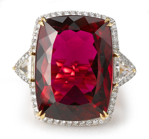 A rubellite tourmaline and diamond ring