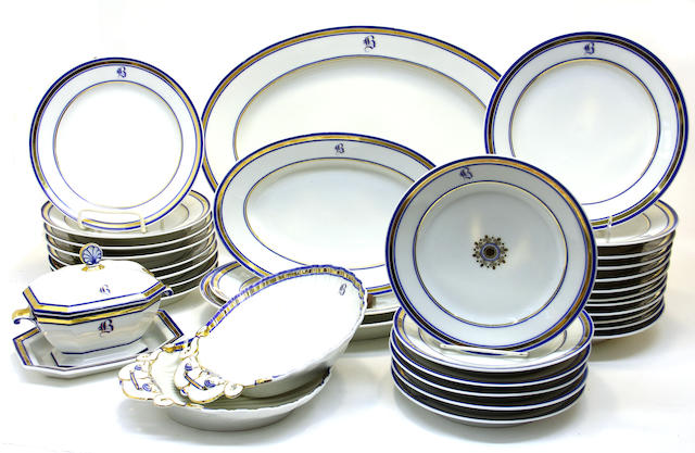 A French porcelain partial dinner service