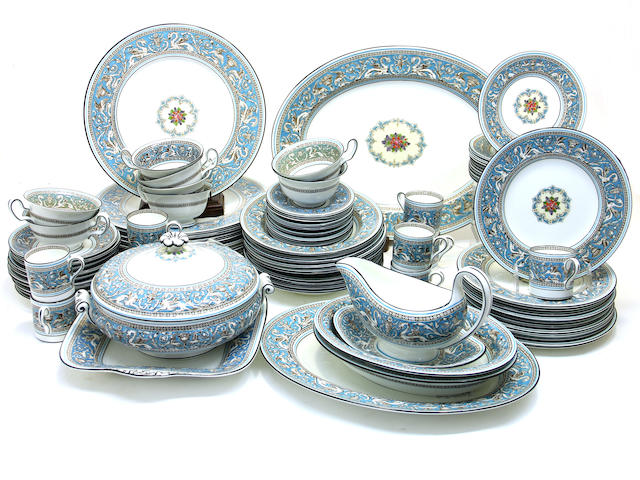 A Wedgwood bone china dinner service in the turquoise Florentine pattern