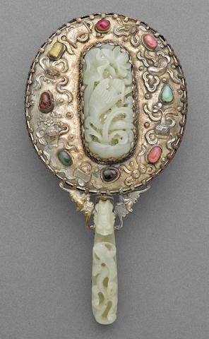 A Chinese jade and stone mounted silverplated copper  hand mirror, circa 1900