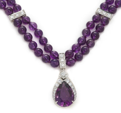 An amethyst and diamond pendant/necklace, Tambetti