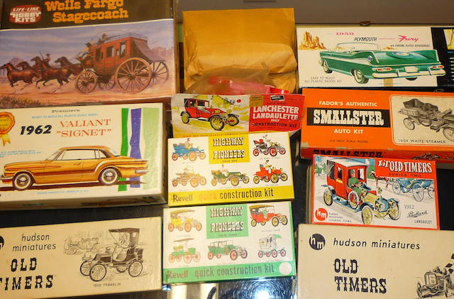 A variety of unbuilt car and wagon model Kits, all vintage,