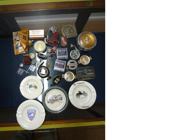 Variety of Vintage Auto Badges, Pins and Ashtrays, including Cord, Nash, REO and others,