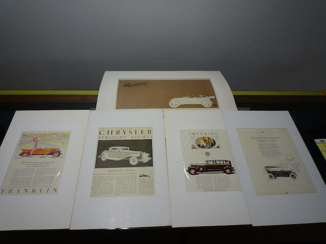 5 Large Unframed 1910s-1920s Original Advertisements, Matted,